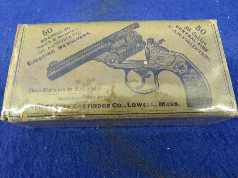 One box in VGC of 50 United States Cartridge Co. .38 S&W rounds
