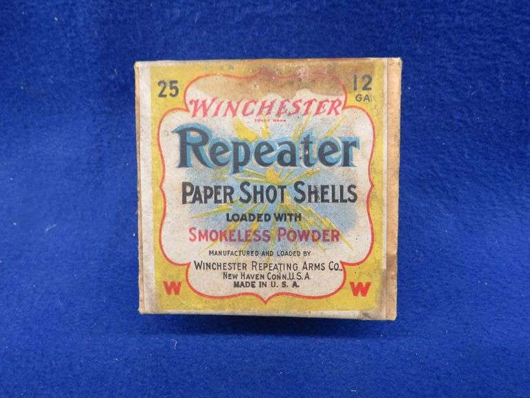 One empty two-piece box in good condition of Winchester Repeater 12-ga. 5-shot shotgun shells