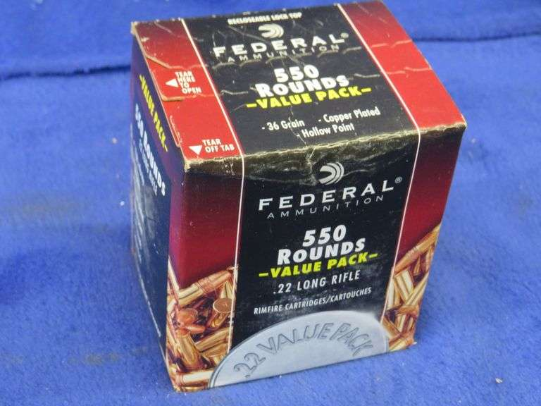 One unopened box of 550 Federal .22LR rounds