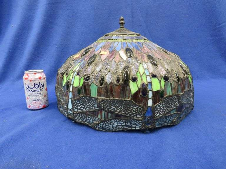 17-inch diameter glass lampshade in excellent condition.  11 inches tall.