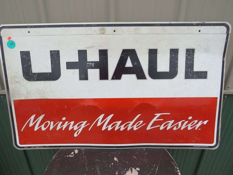 "Vintage 41"" x 24"" metal two-sided U-Haul sign"