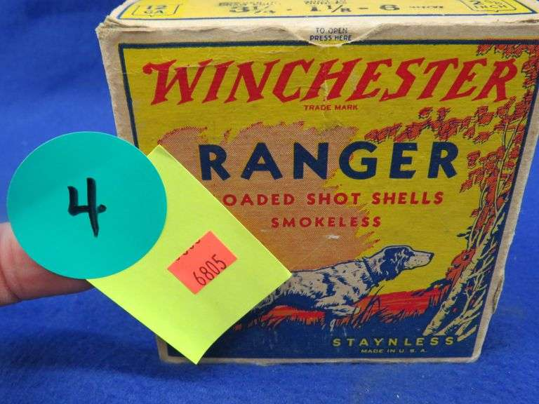 One box in VGC of 25 Winchester 12-ga. Ranger 6-shot shotgun shells