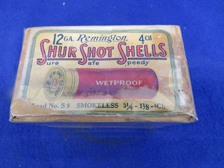 One empty two-piece box in good condition for Remington 12-ga. ShurShot 4-shot shotgun shells