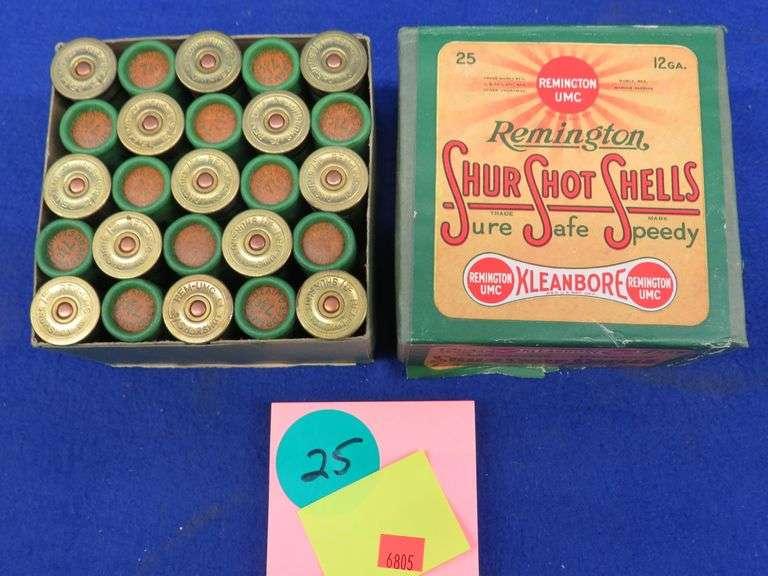 One two-piece box in excellent condition of 25 Remington 12-ga. Shur Shot 7 1/2 shot paper shotgun shells