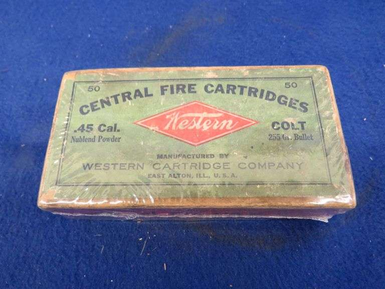 One two-piece box in VGC of 50 Western Central Fire .45 Colt Cartridges