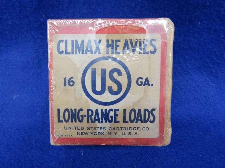 One empty two-piece box in good condition of US Climax heavies 16-ga 1-Buck shotgun shells