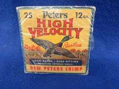 One empty box in VGC of Peters High Velocity 12-ga. 4-shot shotgun shells