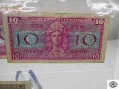 Vintage Military Money , series 521 (2) 10 cent bills , series 681 25 cent bill and a 50 cent bill , series 461 and seeries 521 fifty
