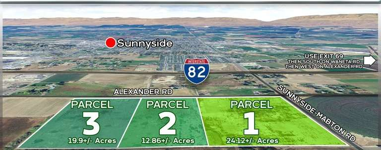 56.8 +/- Acres in 3 Parcels, Sunnyside, WA