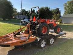 Kubota Tractor with Woods Brush Hog Mower