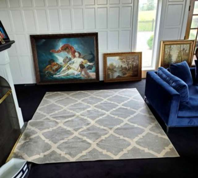 Area Rug - Blue & White