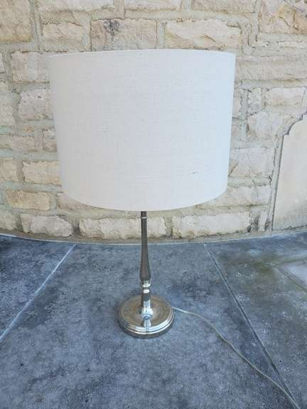 Table Lamp - Silver Base with Large, White Lamp Shade