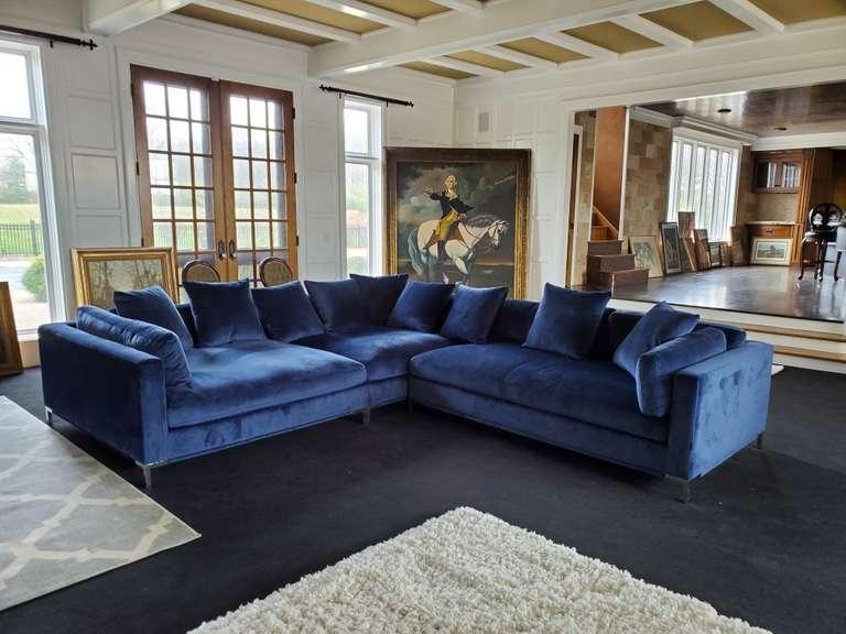 Custom High-End Velour Fabric 2-Piece Sectional Sofa