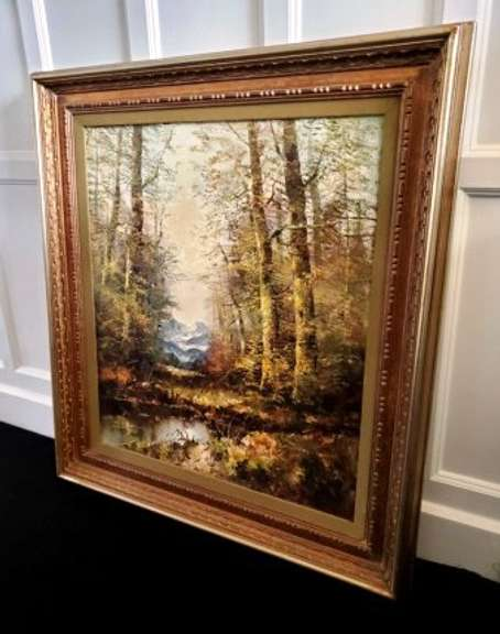 Original Landscape Oil Painting by Fuchs with Gilt Framing