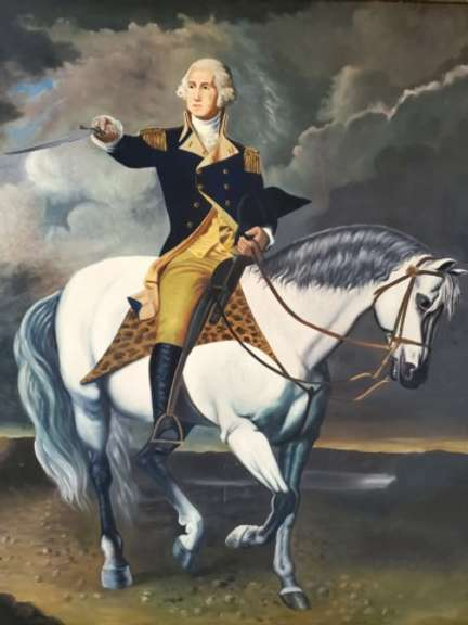 Portrait of George Washington Taking The Salute At Trenton Canvas with Guild Frame