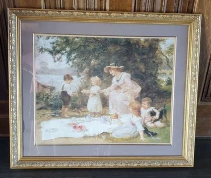 Artwork - Family Picnic Landscape with Gilt Framing