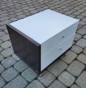 High Gloss White Small Nightstand w/ 2 Drawers