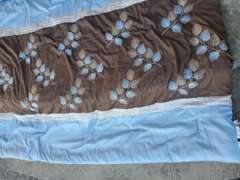Full/Queen Size Comforter Set - Blue & Brown w/ Leaves