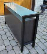 Black & White Console Table w/ Smoked Glass Table Top