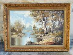 Original Landscape Oil Painting Signed by C. Hachfeld with Guild Frame