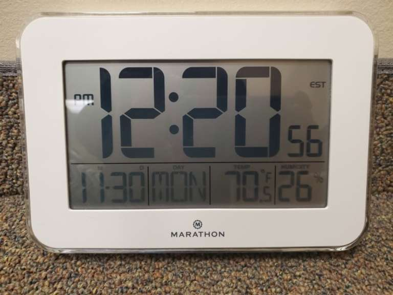 Marathon White Digital Clock