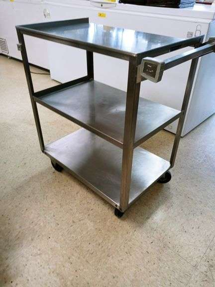 """Stainless Steel Rolling Cart - 18"""" x 30"""" 32"""""""