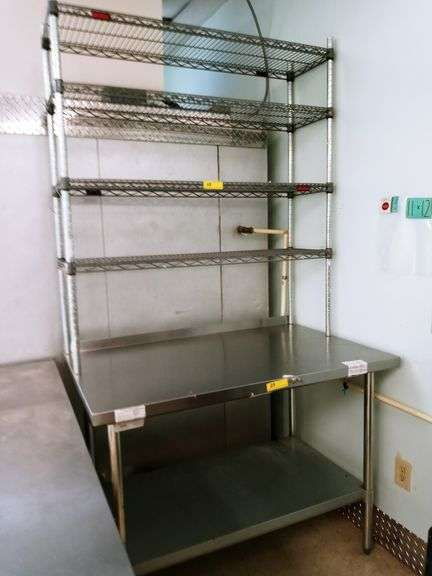 Stainless Steel Table with 4 Shelf Rack