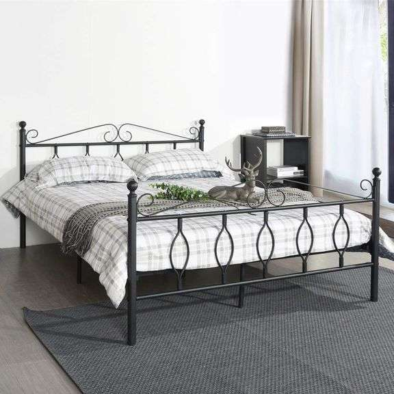 STEEL PLATFORM BED & MATTRESS