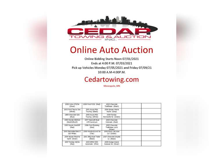 Auction July 1st  2021