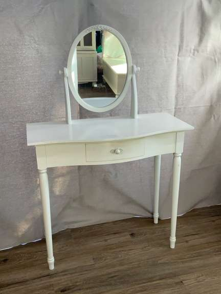 """Small Vanity with Drawer and Mirror 32.5"""" wide x 15.5"""" deep x 30"""" tall (49"""" tall w/mirror)"""