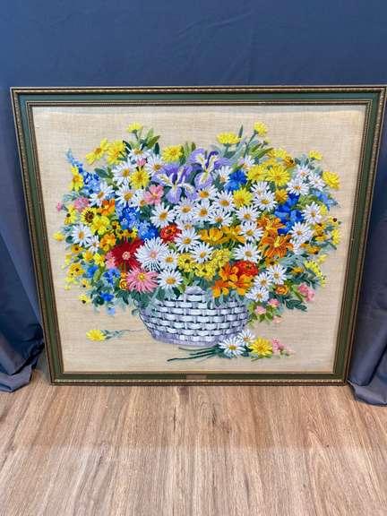 "Needle point framed Art, 31"" x 29"""