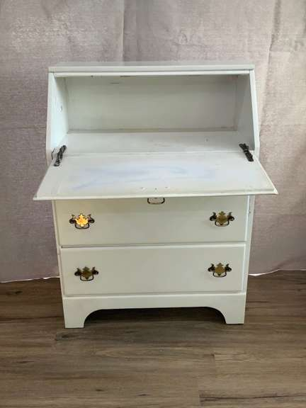 """White Secretary Desk with 3 Drawers, 41"""" tall x 30"""" wide x 15.5"""" deep"""