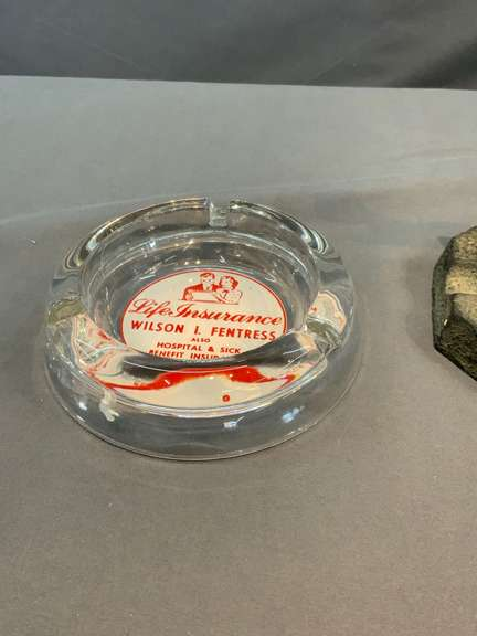 Cast Iron Ashtray, Advertisement Glass Ashtray and Advertisement Lighter