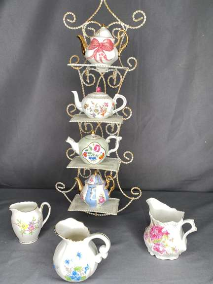 Assorted Minature teapot with display stand and pitchers