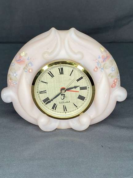 Fenton hand painted clock, battery operated, works, missing battery cover