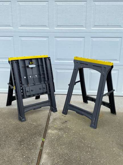 Stanley Folding Sawhorses, one with fold out workbench table