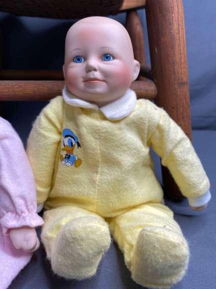 Disney Babies Ashton Drake/Yolanda Bello Porcelain Doll, some staining, girl doll has broken fingers