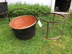 23 in. Diam. Copper Kettle and Stand