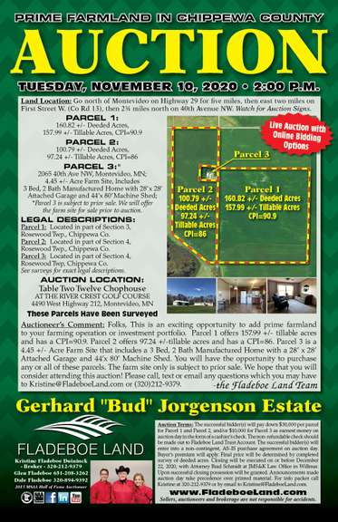Prime Farmland in Chippewa Co - 3 Parcel Auction