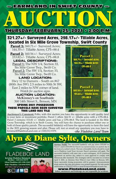 Swift County Farmland Auction - 2 Parcels