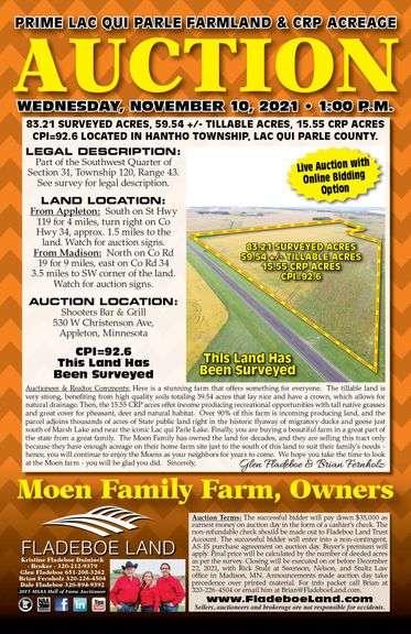 Farmland Auction in Lac qui Parle County