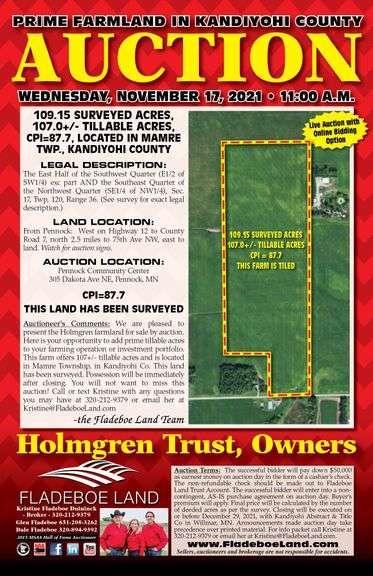 Farmland Auction in Kandiyohi County