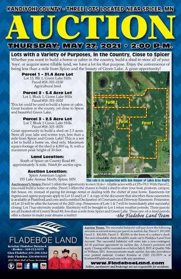 Auction – Kandiyohi County – 31+ Acre Farmland Parcel, Residential Home Lot & Lot to Build an Outbuilding – All Located Near Spicer