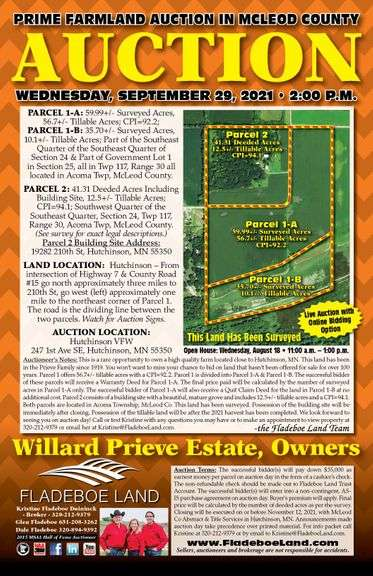 Prime Farmland Auction in McLeod Co - 2 Parcels