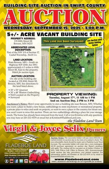 Building Site Auction in Swift Co. – 5+/- Acre Building Site with Existing Outbuildings