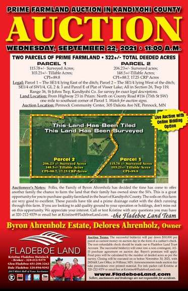 Kandiyohi County Farmland Auction - 2 Parcels of Prime Farmland