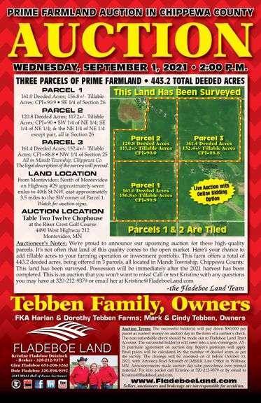 Prime Chippewa County Farmland Auction - 3 Parcels of Prime Farmland