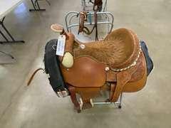 """16"""" Billy Cook Custom Saddle, (2) Saddle Stands, Saddle Blanket, & Bridle"""