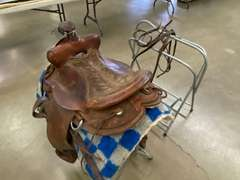 """15"""" Bear Valley Saddle, (2) Saddle Stands, Saddle Blanket, & Bridle"""