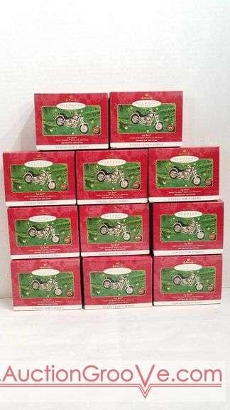 11 Harley-Davidson fat boy keepsake ornaments by Hallmark. All new in box